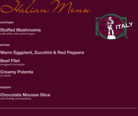 Italian Menu Option 1