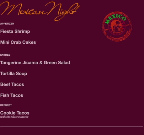Menu for Mexican Night