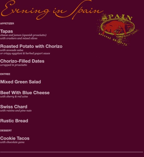 Spanish Evening Menu